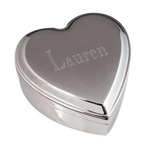 8509220: Silver Heart Box - Intials