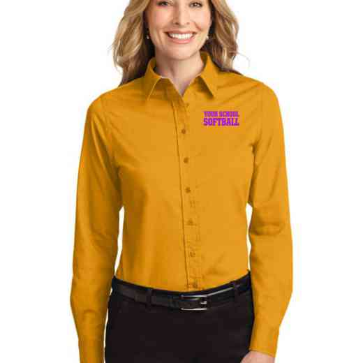 Softball Easy Care Embroidered Long Sleeve Oxford