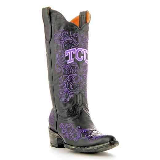 "Women's 13"" TCU Horned Frogs Black Tailgate Cowgirl Boots by Gameday Boots"