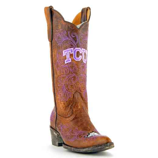 "Women's 13"" TCU Horned Frogs Brown Tailgate Cowgirl Boots by Gameday Boots"