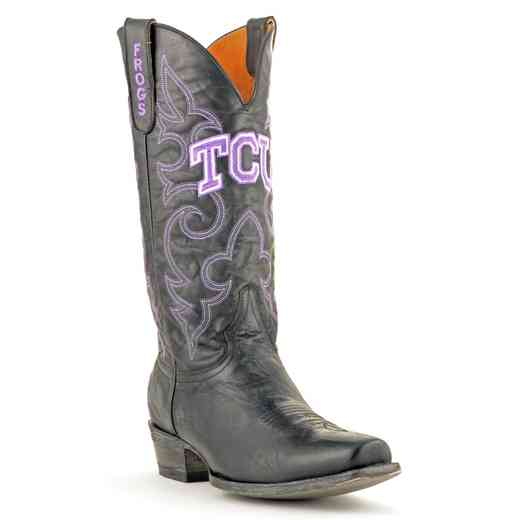 Men's TCU Horned Frogs Black Executive Cowboy Boots by Gameday Boots