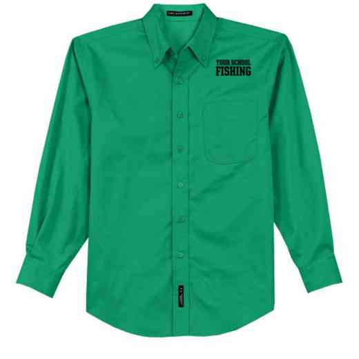 Fishing Easy Care Embroidered Long Sleeve Oxford
