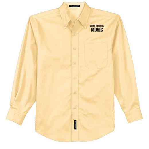 Music Easy Care Embroidered Long Sleeve Oxford