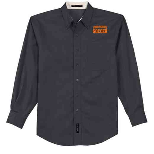 Soccer Easy Care Embroidered Long Sleeve Oxford