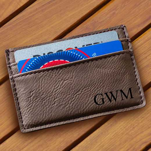 GC1328 Dk Brown: Leatherette Money Clip & Wallet
