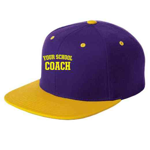 Coach Embroidered Sport-Tek Flat Bill Snapback Cap