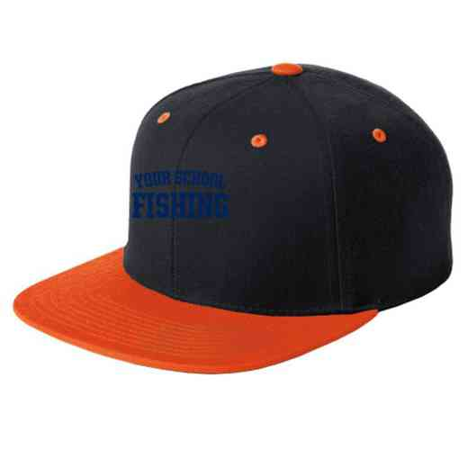 Fishing Embroidered Sport-Tek Flat Bill Snapback Cap