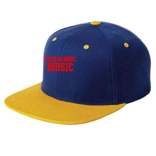 Music Embroidered Sport-Tek Flat Bill Snapback Cap