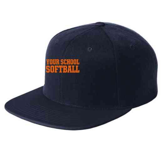 Softball Embroidered Sport-Tek Flat Bill Snapback Cap