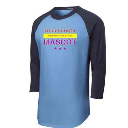 Swimming and Diving Adult Sport-Tek Baseball T-Shirt
