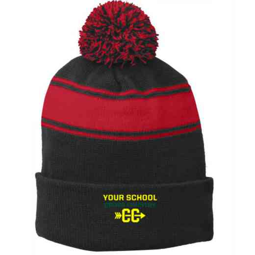 Cross Country Embroidered Pom Beanie