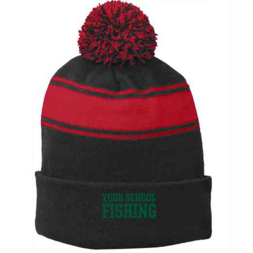 Fishing Embroidered Pom Beanie