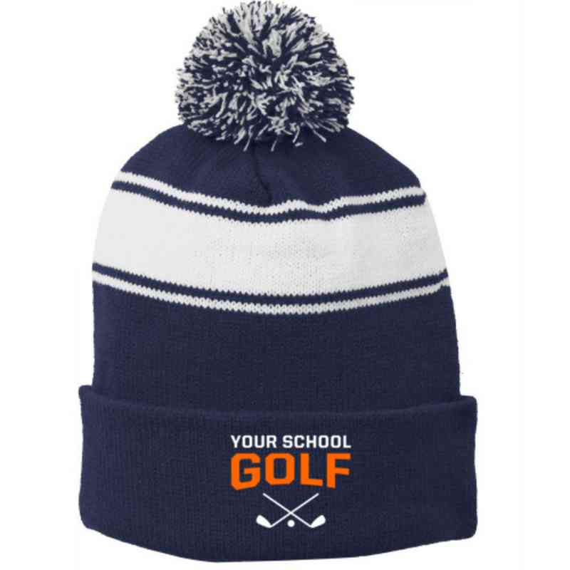 Golf Embroidered Pom Beanie
