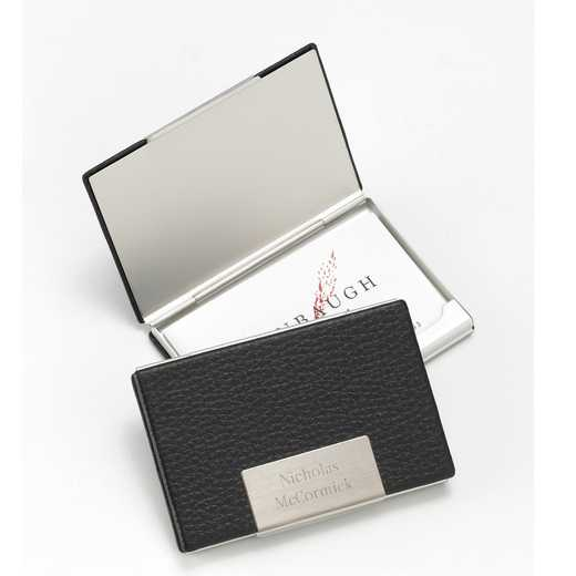 GC279: Personalized Black Leather Card Case