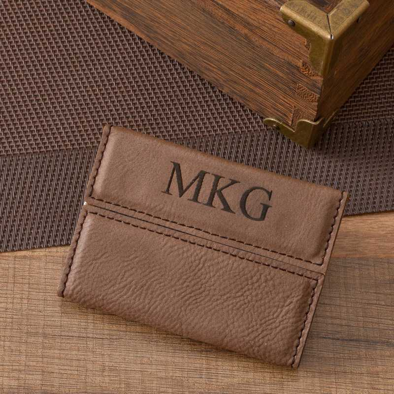 GC1264: Personalized Mocha Business Card Holder