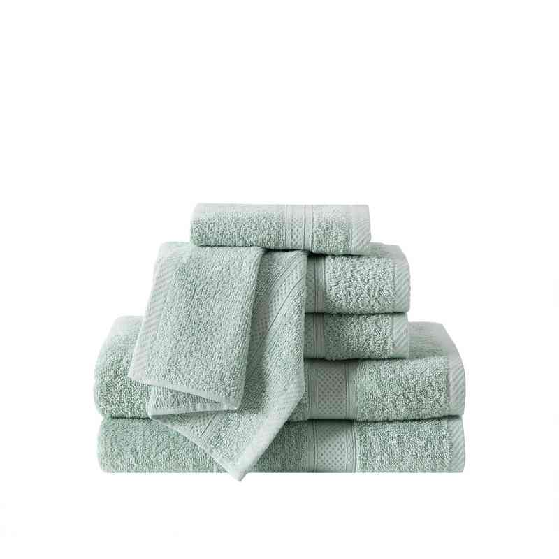 RBL-TWL-6PCT-IN: VCNY Ribbed Luxury 6PC Towel Set  - Dusty Sage