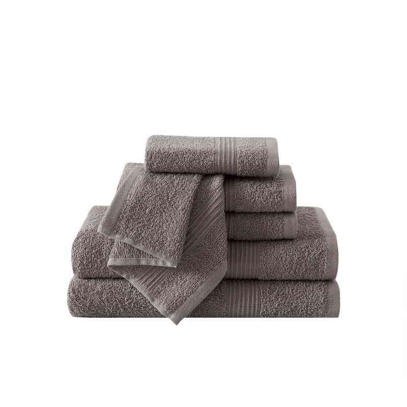 RBL-TWL-6PCT-IN: VCNY Ribbed Luxury 6PC Towel Set  - Grey