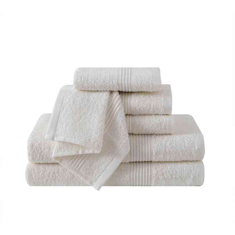 RBL-TWL-6PCT-IN: VCNY Ribbed Luxury 6PC Towel Set  - Ivory