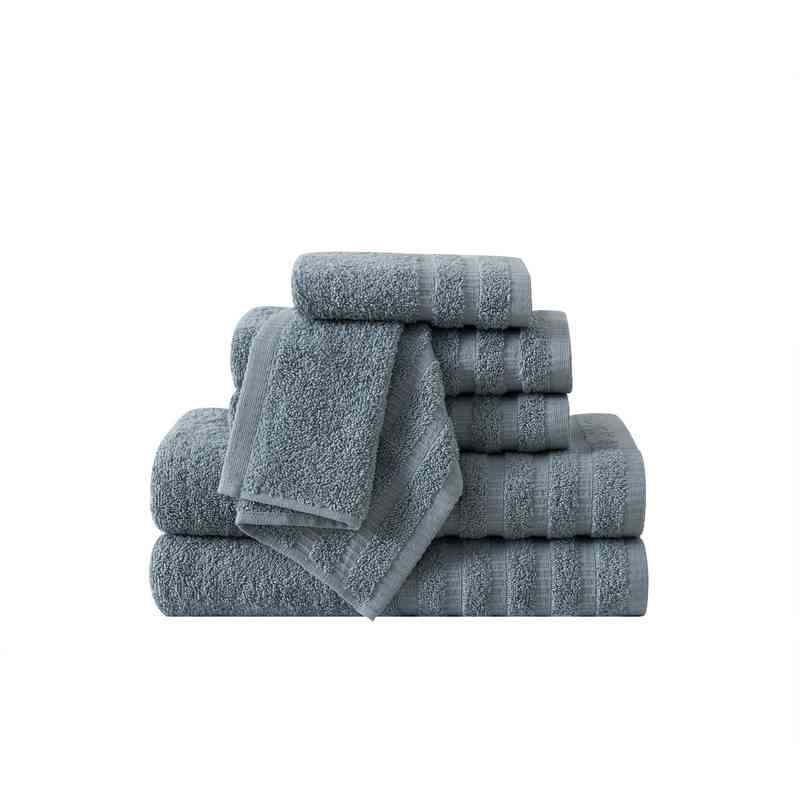 WDR-TWL-6PCT-IN: VCNY Wide Ribbed Hotel  6PC Towel Set - Slate Blue