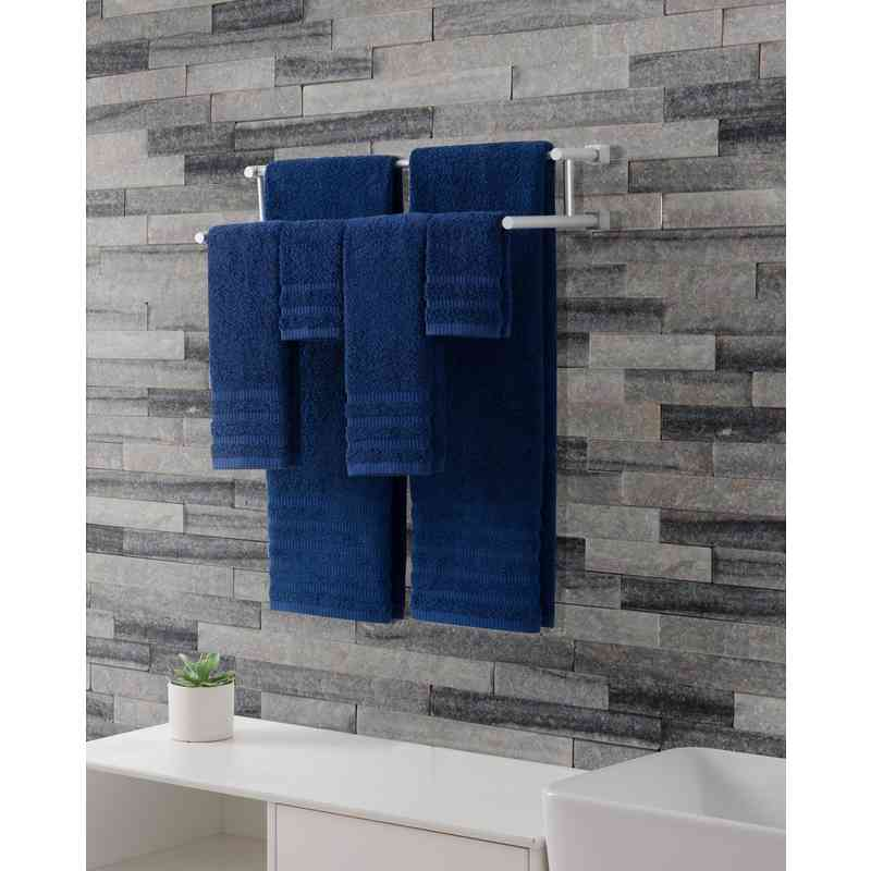 WDR-TWL-6PCT-IN: VCNY Wide Ribbed Hotel 6PC Towel Set - Indigo Blue