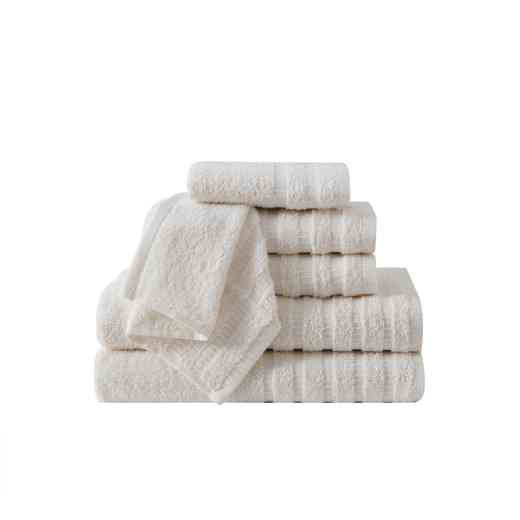WDR-TWL-6PCT-IN: VCNY Wide Ribbed Hotel 6PC Towel Set - Ivory