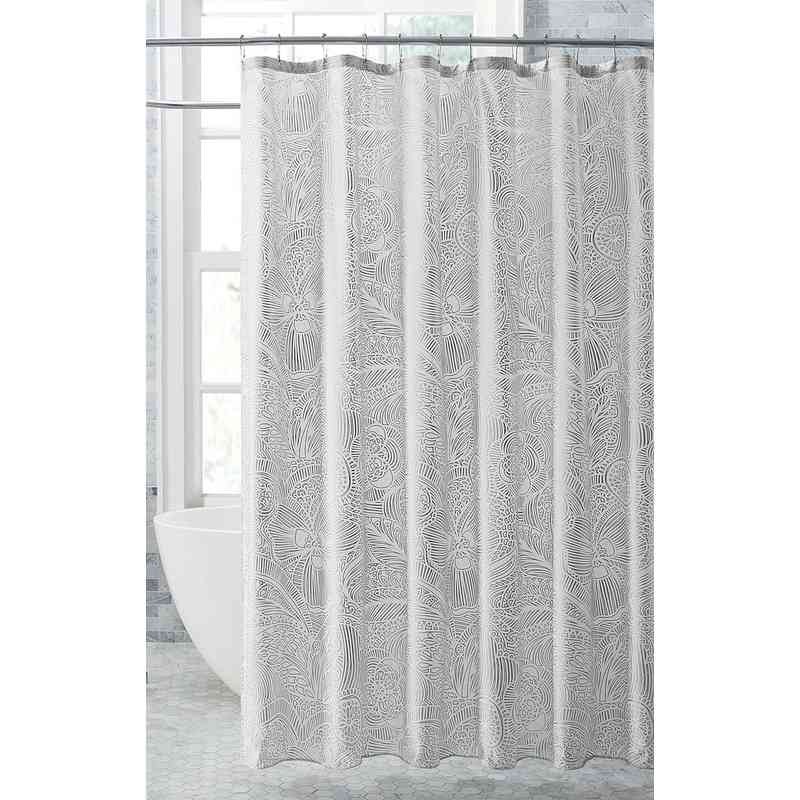 Harper Metallic Shower Curtain Silver