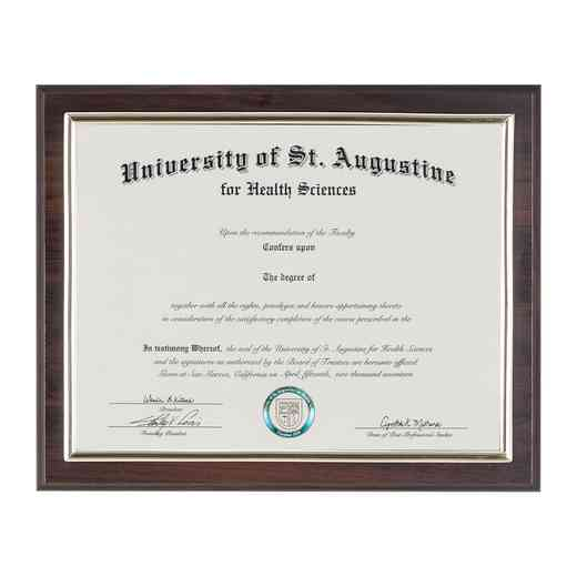 RTD6: JDS CHERRY FINISH SLIDE DIPLOMA PLAQUE 8.5X11