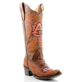 """Women's 13"""" Auburn Tigers Brass Cowgirl Boots by Gameday Boots"""
