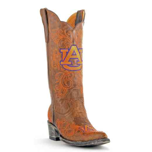 "Women's 13"" Auburn Tigers Brass Tailgate Cowgirl Boots by Gameday Boots"