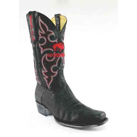 Men's Arkansas Razorback Black Executive Cowboy Boots by Gameday Boots
