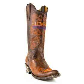"""Women's 13"""" Clemson Tigers Brass Tailgate Cowgirl Boots by Gameday Boots"""
