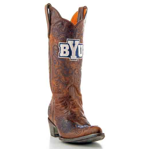 Women's Brigham Young Cougars Tailgate Brass Cowgirl Boots by Gameday Boots