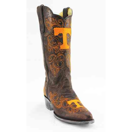 "Women's 13"" Tennessee Volunteers Tailgate Brass Cowboy Boots by Gameday Boots"