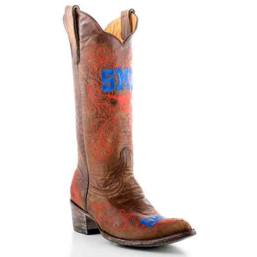 "Ladies 13"" SMU Mustangs Brass Tailgate Cowgirl Boots by Gameday Boots"