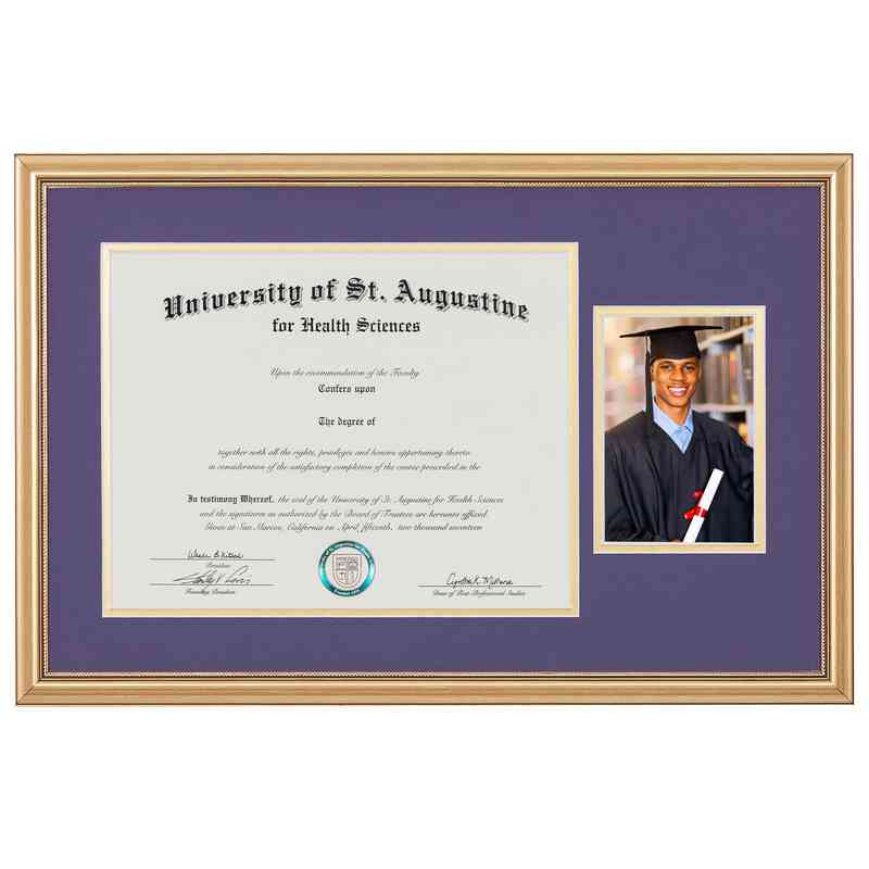 Standard Gold Diploma Frame with Photo Display fits 11