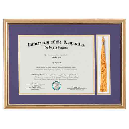 "Standard Black & Gold Diploma Frame with Tassel Display fits 11"" x 14"" Diploma"