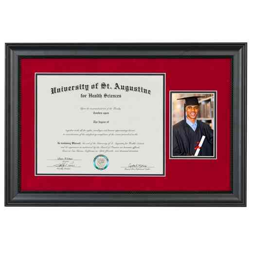"Premium Black Miami Diploma Frame with Photo Display fits 11"" x 14"" Diploma"