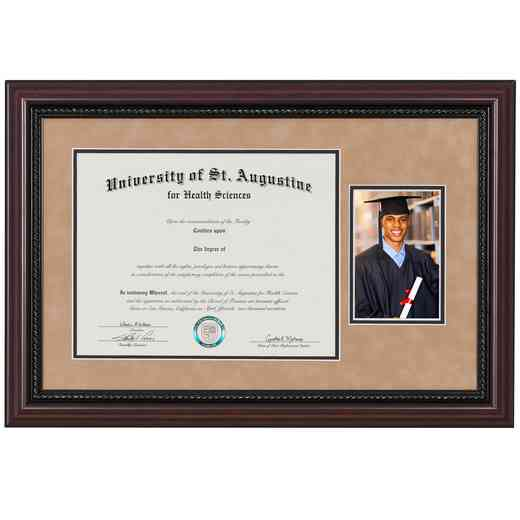 "Premium Rope Diploma Frame with Photo Display fits 11"" x 14"" Diploma"