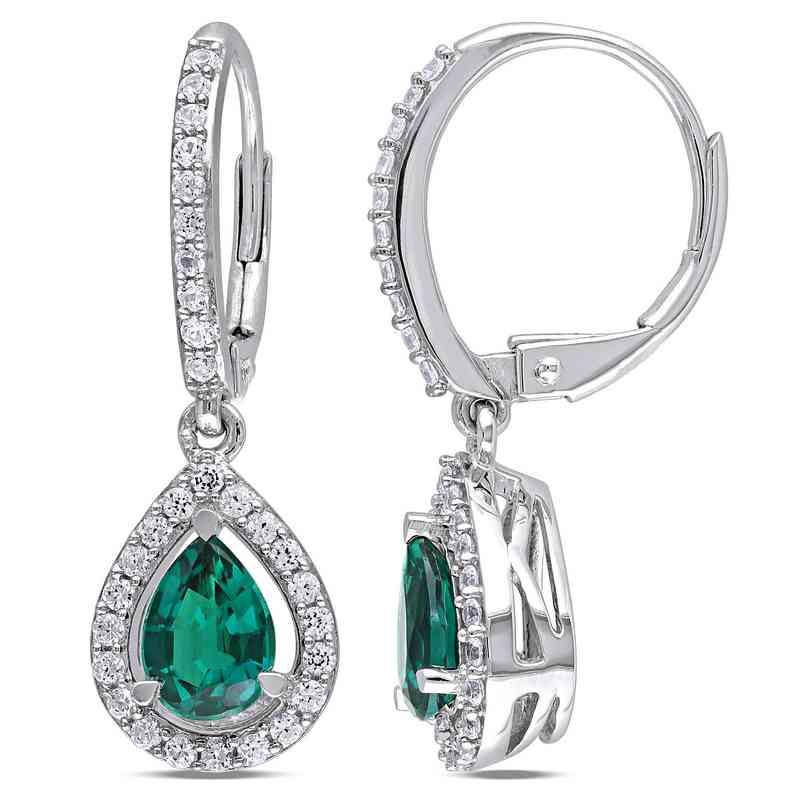 BAL000314:  Emerald and  Wht Sapphire Halo Teardrop Earrgs  SS
