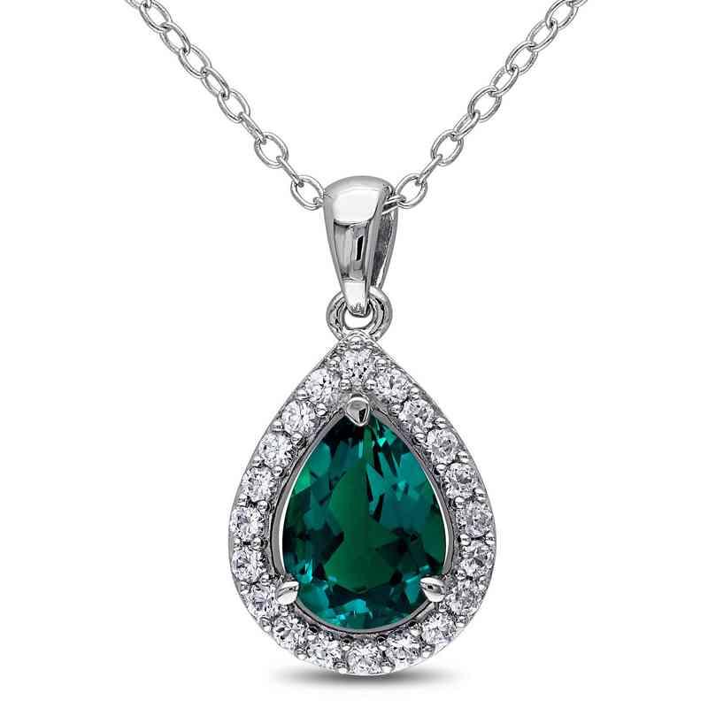 BAL000315:  Emerald and  Wht Sapphire Halo Teardrop NCK  SS