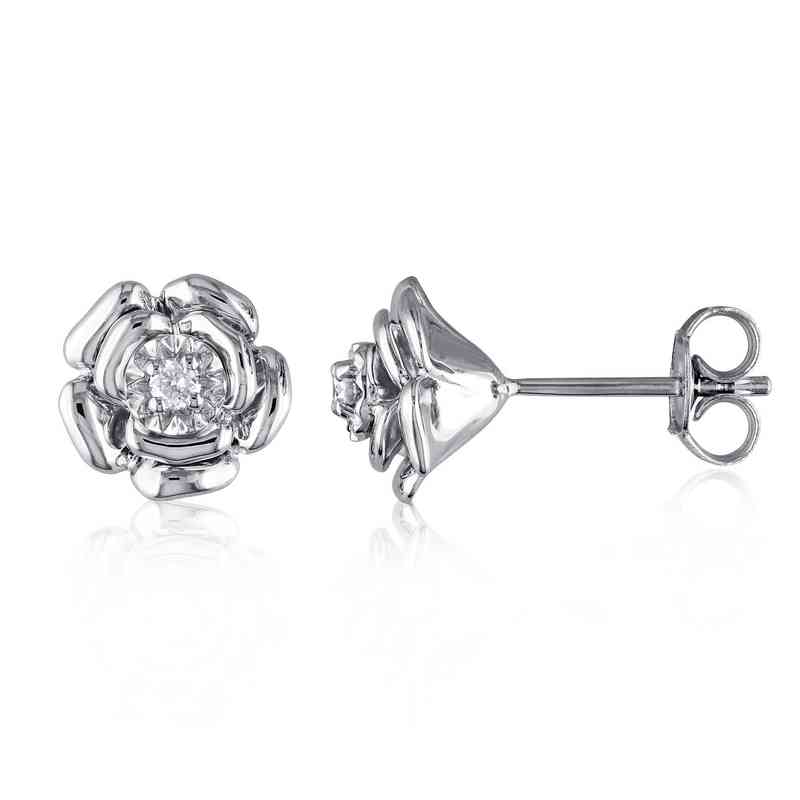 BAL000374: Dmnd-Accent Floral Stud EAR in Sterling SLV