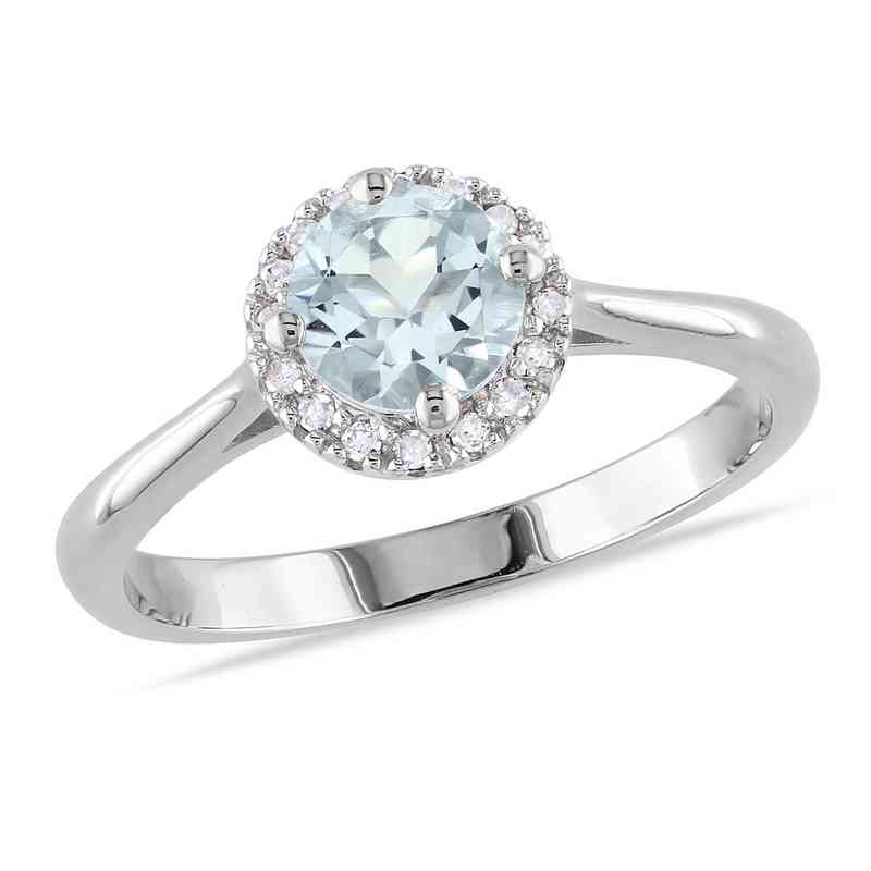 Diamond Accent and Aquamarine Halo Ring in Sterling Silver