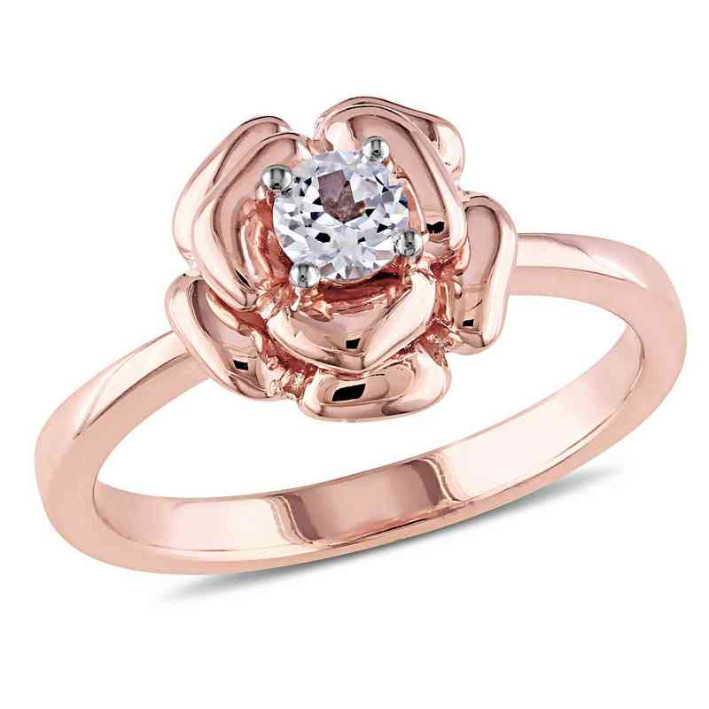 Created White Sapphire Floral Ring in Rose Plated Sterling Silver