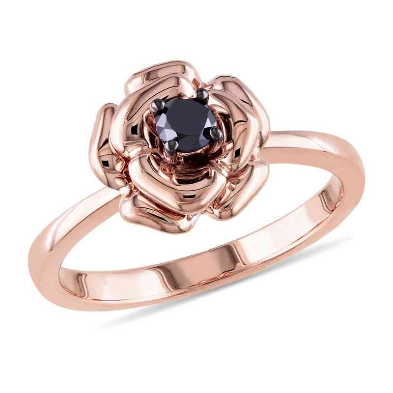 1/4 CT. T.W. Black Diamond Floral Ring in Rose Plated Sterling Silver