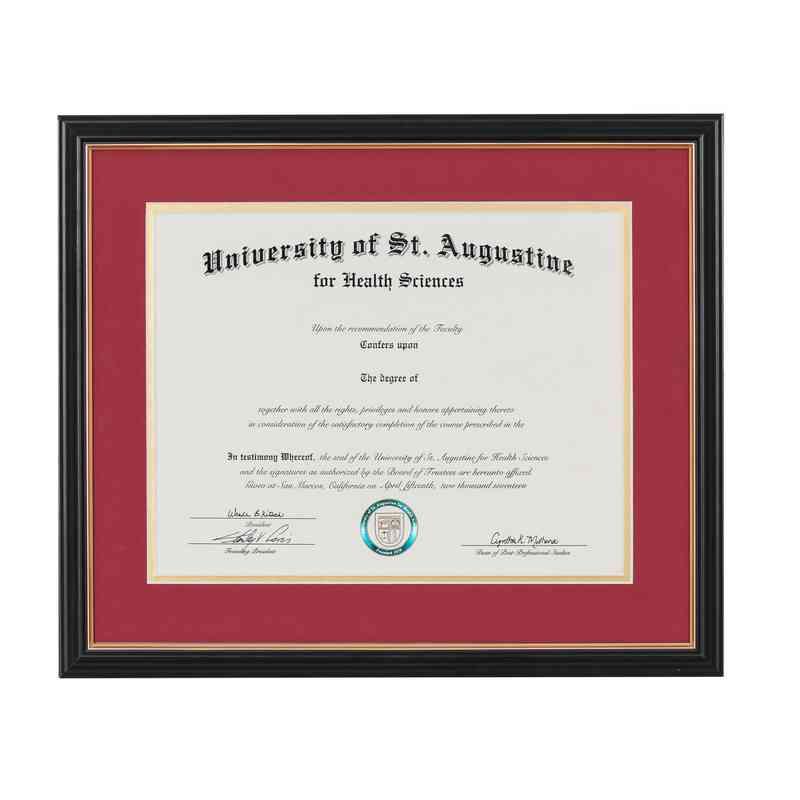 Standard 11 X 14 Black Gold Diploma Frame