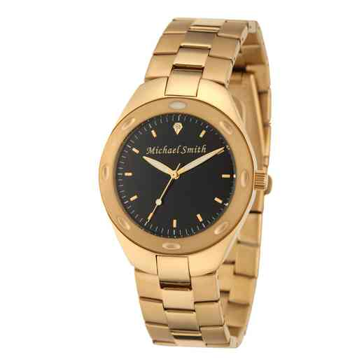61926-1C: Men's Personalized Black Dial Gold Tone Link Watch