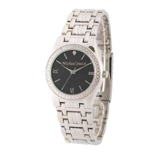 W000794: Men's Personalized Diamond Accent Silver Tone Link Watch