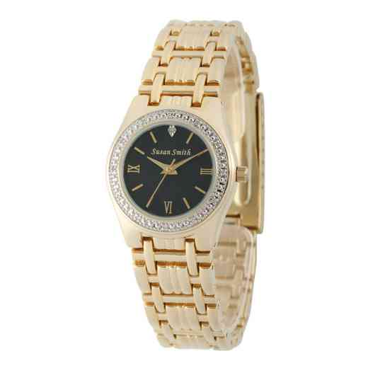 W000791: Ladies Personalized Diamond Accent Gold Tone Watch