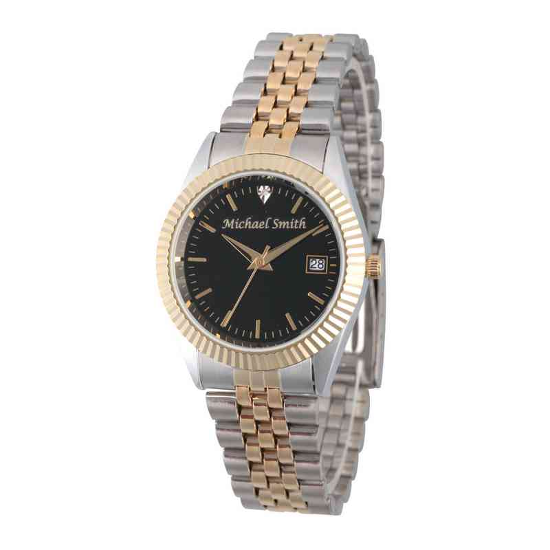 PW00176: Men's Personalized Diamond Accent Two Tone Watch