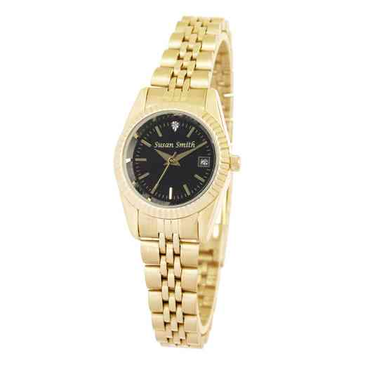 PW00234: Ladies Personalized Gold Tone Black Face Watch